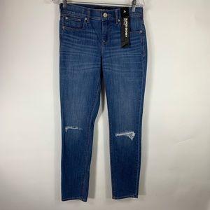 Express Jeans Mid Rise Super Skinny Distressed sz2